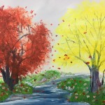 """Autumn Reds and Yellows"" – Acrylic on Canvas thumbnail"