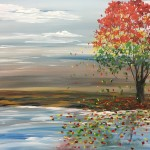 """Colorful Tree in a Barren Landscape"" – Acrylic on Canvas thumbnail"