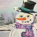 """Snowman Buttons"" – Acrylic on Canvas thumbnail"