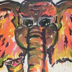 """Elephant with Glasses"" – Acrylic on Canvas thumbnail"