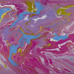 """""""Cotton Candy Swirl"""" Abstract Acrylic on Canvas thumbnail"""